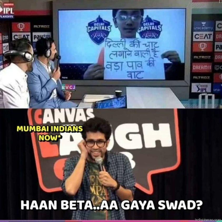 Delhi ki chat lagane wali hai Vada pav ki vaat Haan bhai aa gaya swad meme.jpg