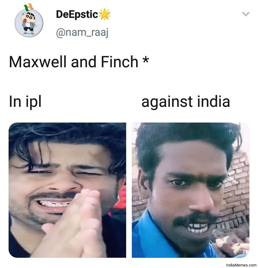 Maxwell and Finch in IPL vs against India meme.jpg