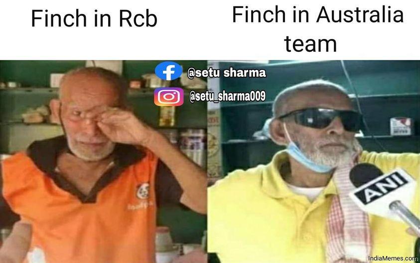 Finch in RCB vs Finch in Australia team meme.jpg