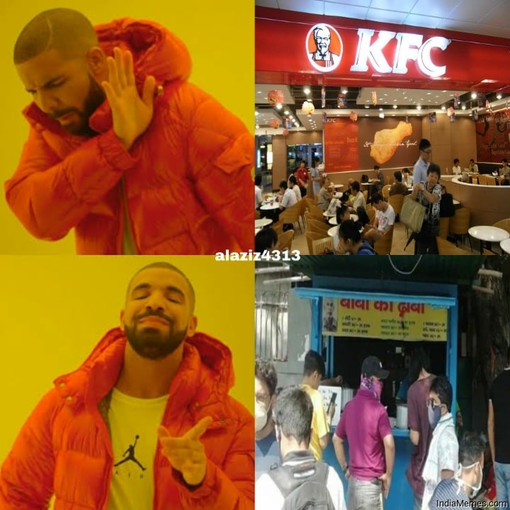 KFC vs Baba ka dhaba Drake meme.jpg