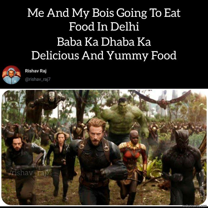 Me and bois going to Delhi to eat food at Baba ka dhaba meme.jpg