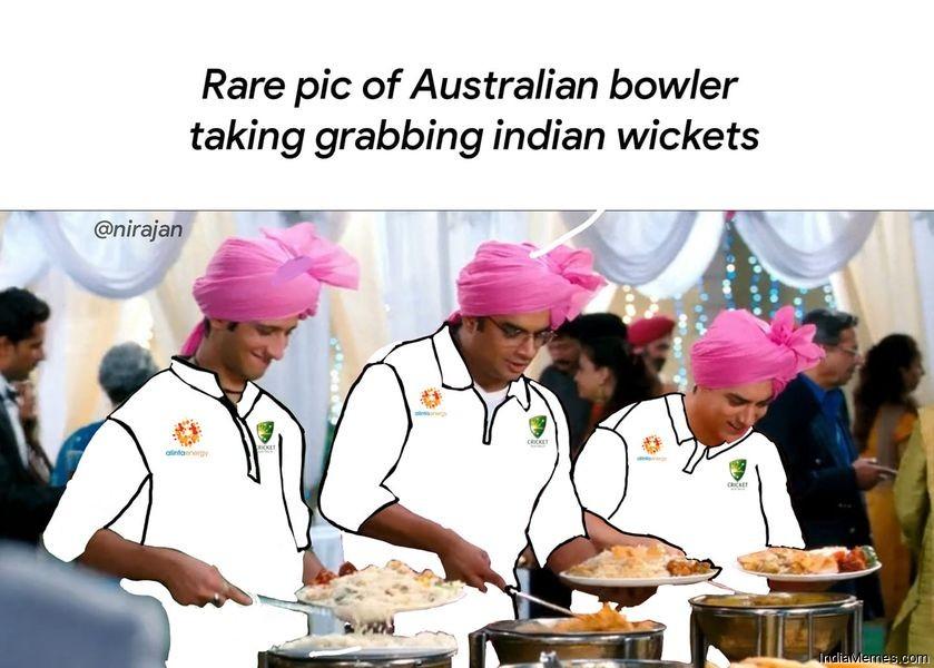Rare pic of Australian bowler taking grabbing Indian wickets meme.jpg