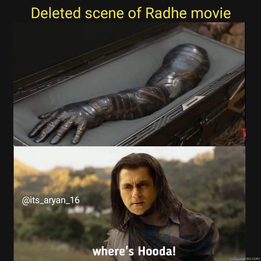 Deleted scene from Radhe movie Wheres Hooda meme.jpg