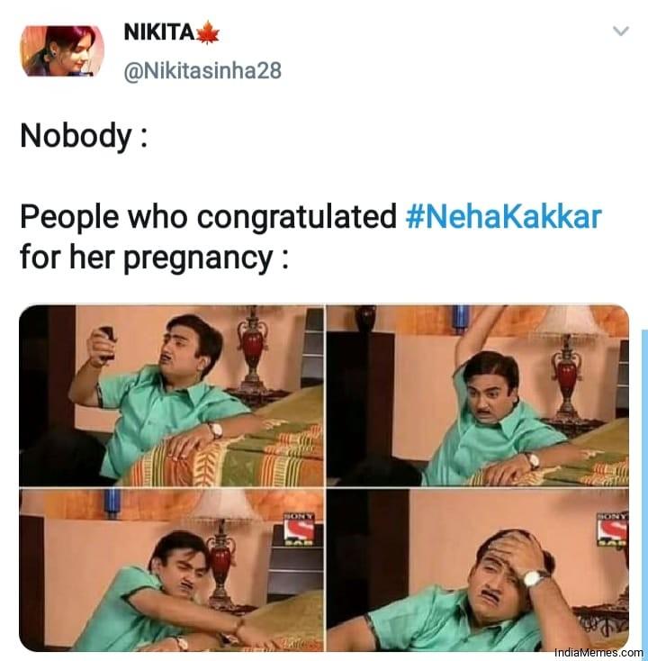 Neha Kakkar Pregnancy Memes in Hindi