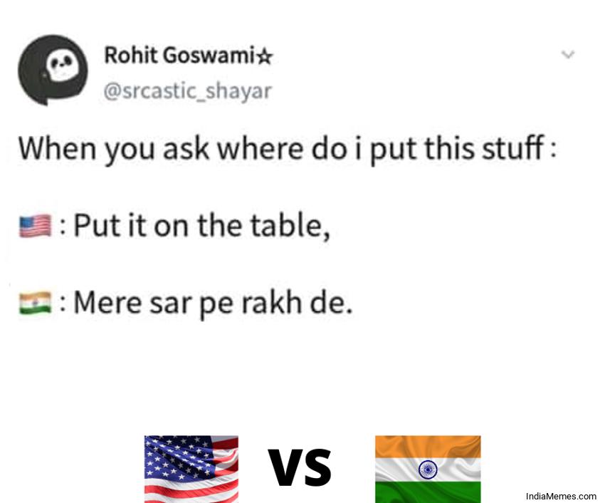 US vs India Memes ni Hindi